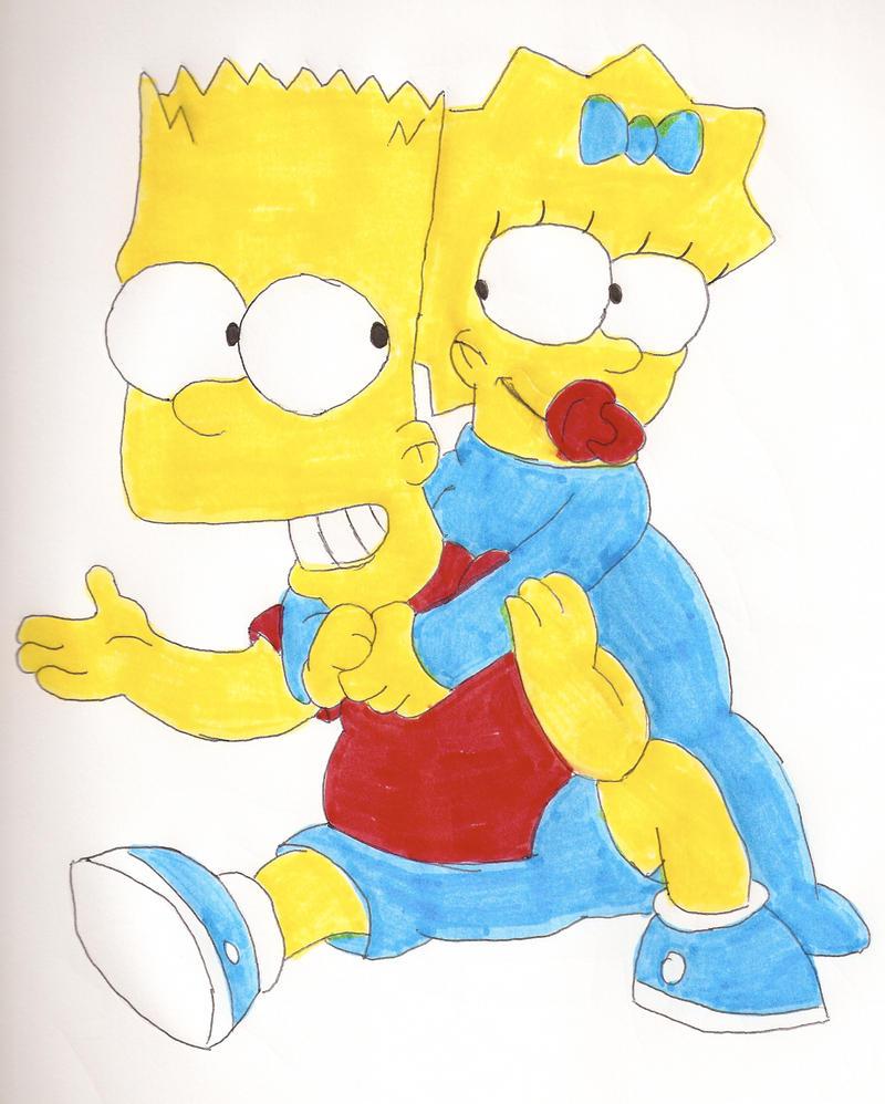 Maggie and bart hug by locke831 on deviantart - Marge simpson et bart ...