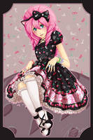Cherry Berry Bunny OP in black by jessichan