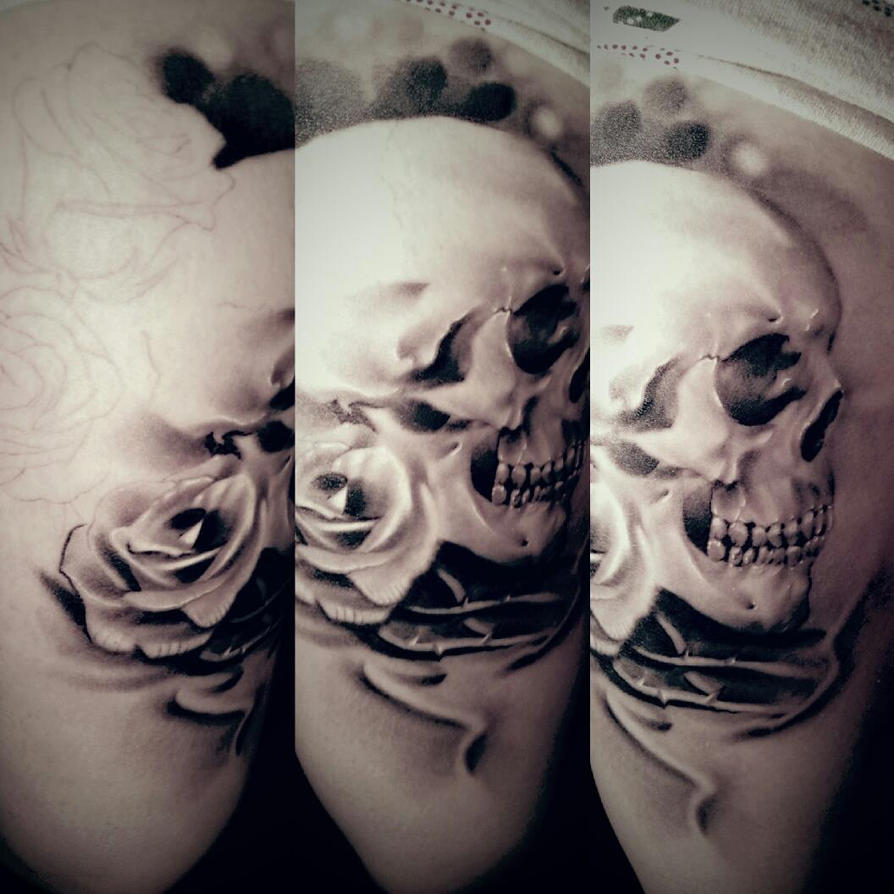 Skull and roses tattoo healed by littlerock3dd on deviantart for Rose and skull tattoos