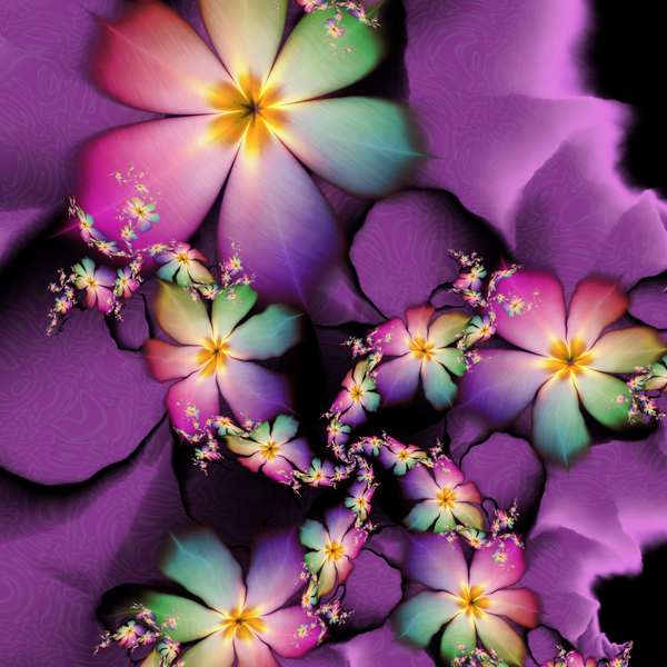 Rainbow Flowers Growing in Purple Clouds by 21citrouilles