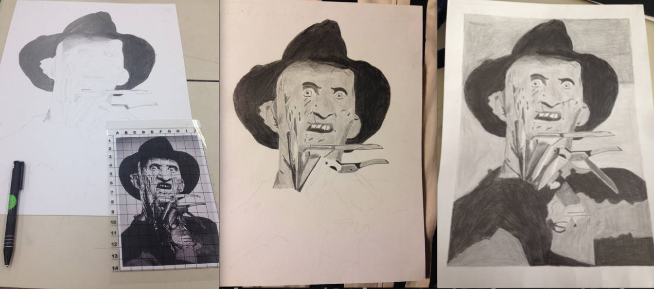My First Drawing and Shading of Freddy Krueger