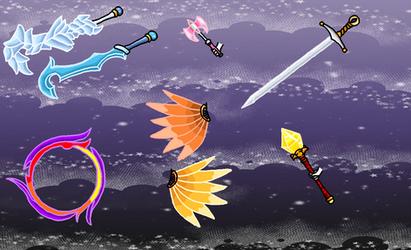 BSSM Elohim weapons: Colored by XNekoXMika