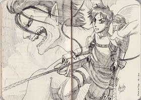 Eren Jaeger from Attack On Titan (Quick Sketch) by beckzera