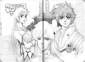 Minmay, Misa and Hikaru from Macross by beckzera