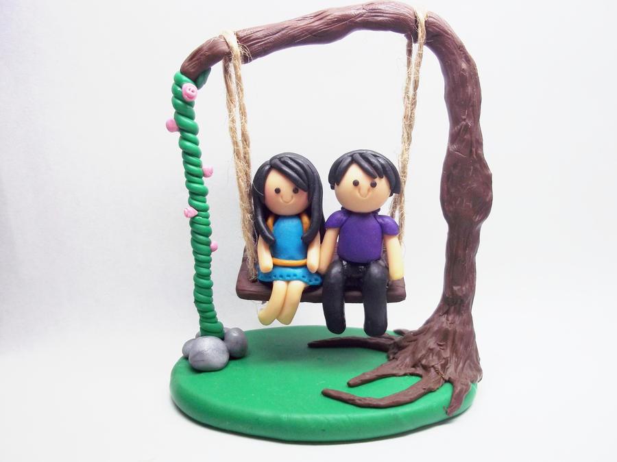 Love's Full Swing - Polymer Clay Chibi Figurine