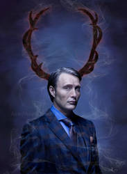 Hannibal Lecter Digital Painting by ashleymenard122
