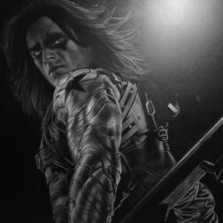 Winter Soldier White Charcoal W.I.P by ashleymenard122
