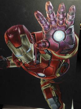 Iron Man coloured pencil W.I.P