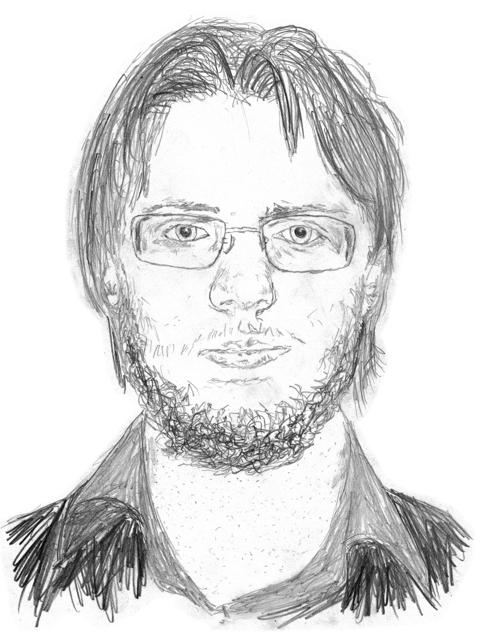 Andrei Kostyrka portrait of himself with beard
