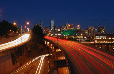 I-5 and Downtown Seattle by Okayoptic