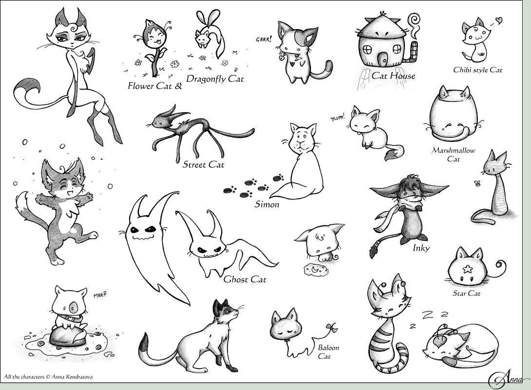 Doodle Art Character Design : Cat designs doodles by stardust art on deviantart