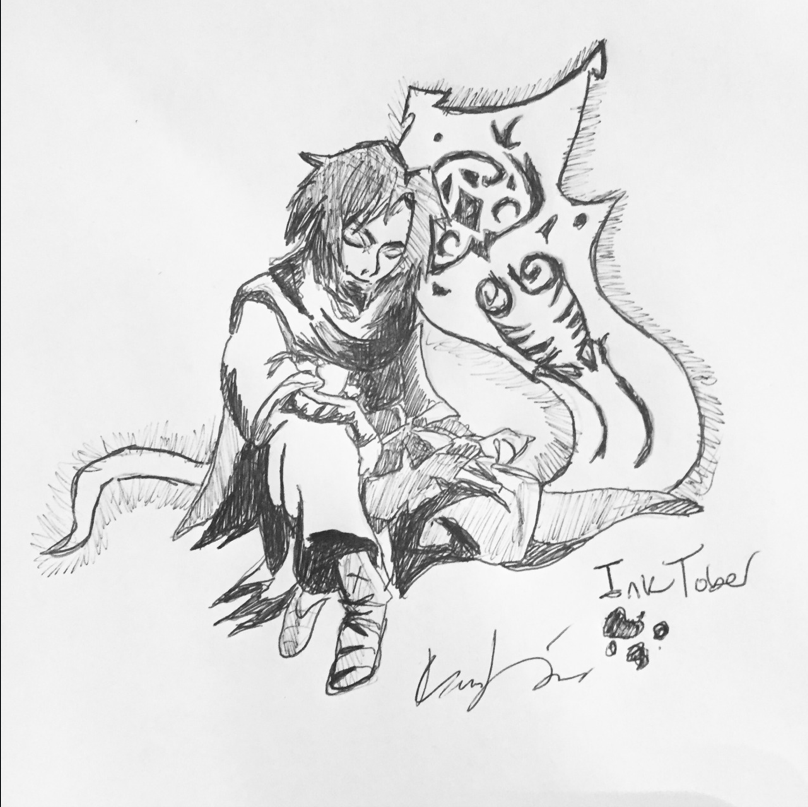 Inktober Avatar Wan and Raava(Commission) by FireNationPhoenix