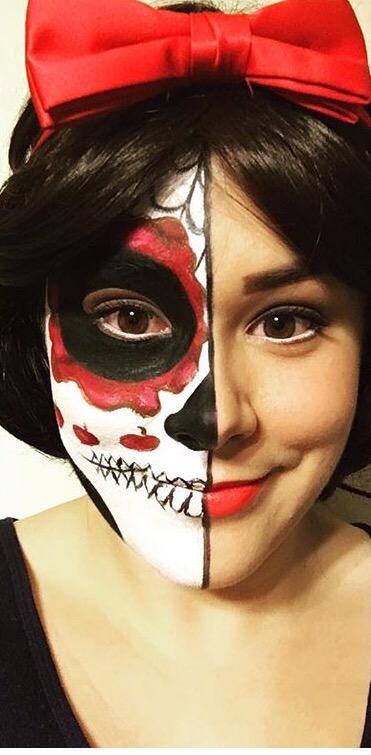 Snow White Sugar Skull Facepaint by j0wey