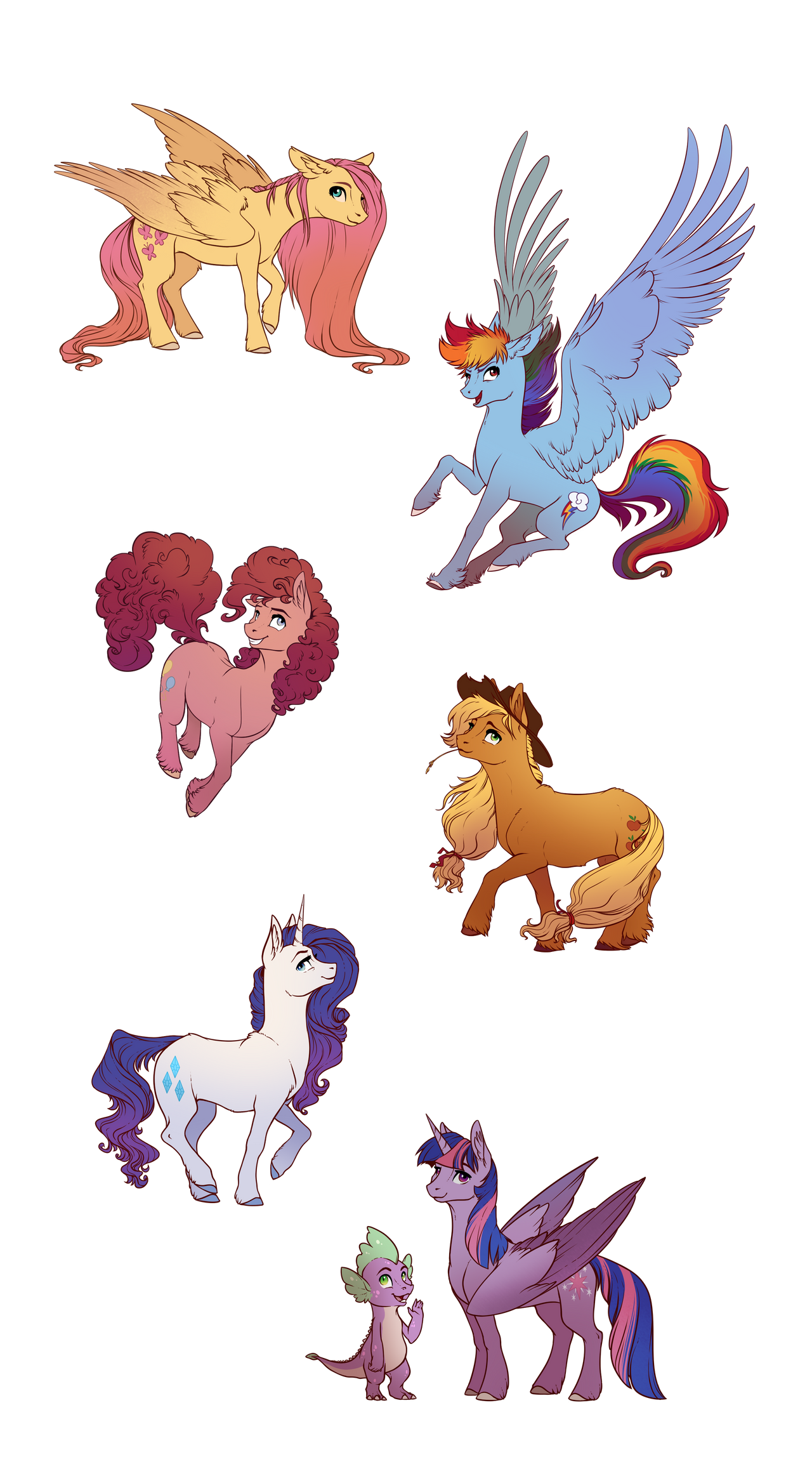 Mane6 (and Spike) by 28GoodDays