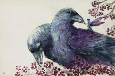 Two-headed crow and the crow fairy by ShaunPayne