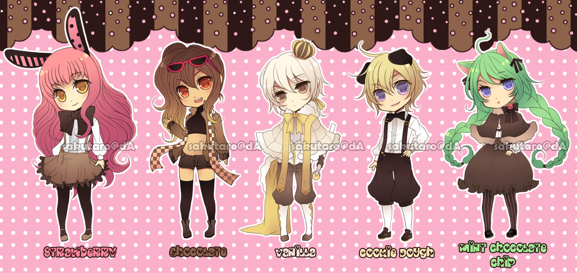 Adoptables01: Ice Cream Team [CLOSED] by Rinslettuce