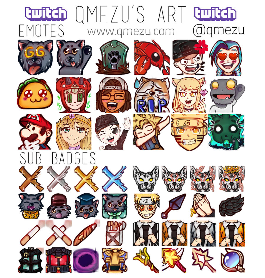 c: Twitch Emotes and Sub Loyalty Badges by mezuzume on