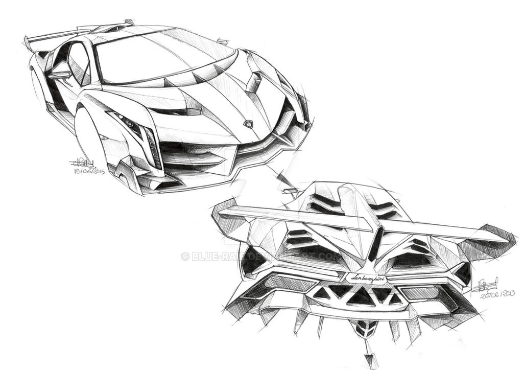 lamborghini veneno sketch by blue raie