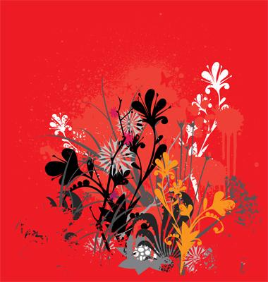 Funky grunge flowers
