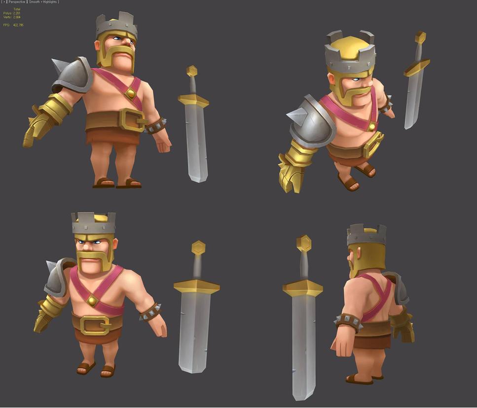 Clash Of Clans Barbarian King 3D Study By Painterhoya On