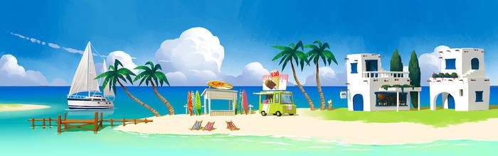 Summer beach GAME BACKBROUND by painterhoya