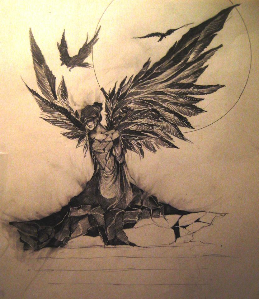 Sad Angel Drawing Sad Angel by Ledomat