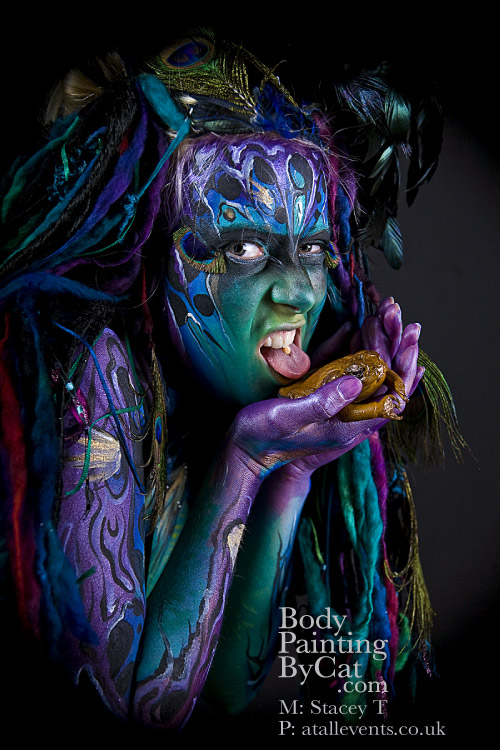 Spirit Shamen toad licking 2nd by Bodypaintingbycatdot