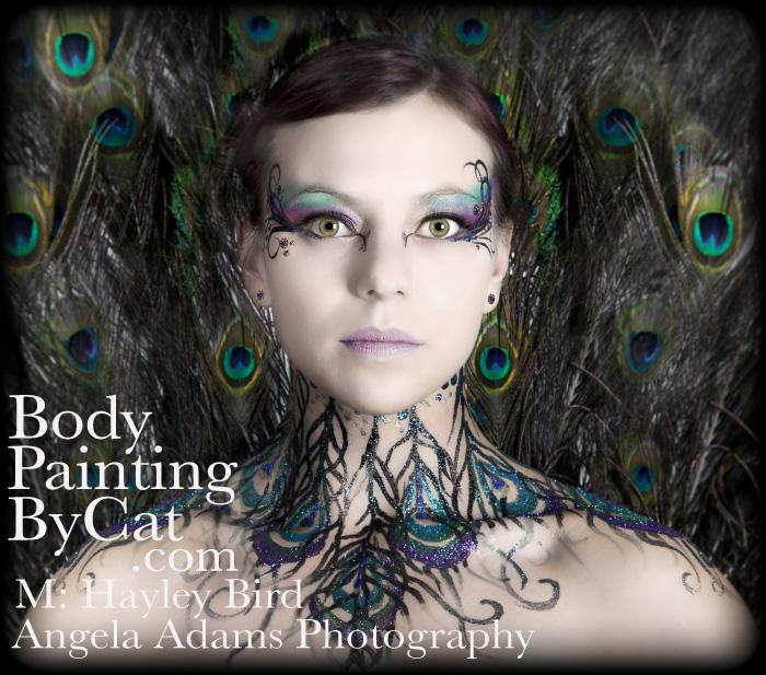 Peacock Vamp Neck Glitter Tattoo By Bodypaintingbycat On Deviantart