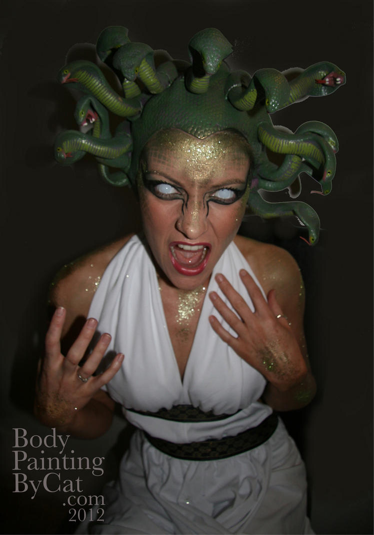 Pretty Medusa face body paint glitter Halloween by Bodypaintingbycatdot