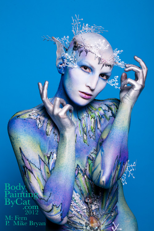 Snow queen bodypaint comp by Bodypaintingbycatdot
