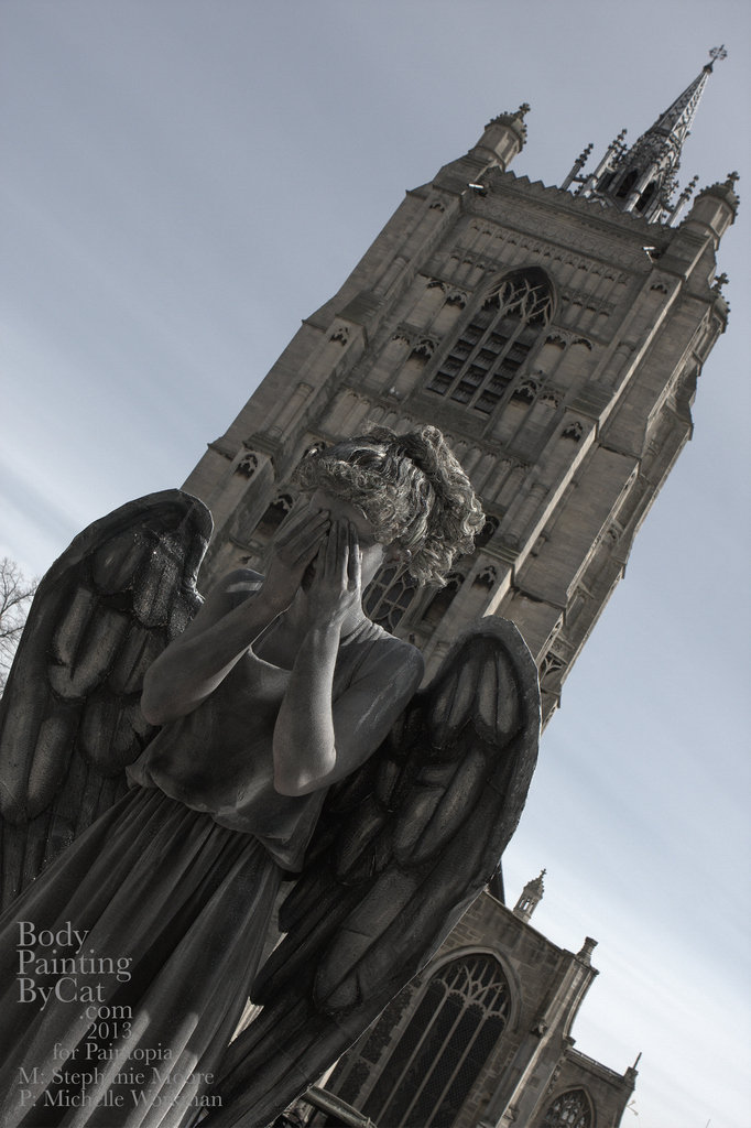 Dr Who Paintopia Weeping Angel bodypaint cathedral by Bodypaintingbycatdot