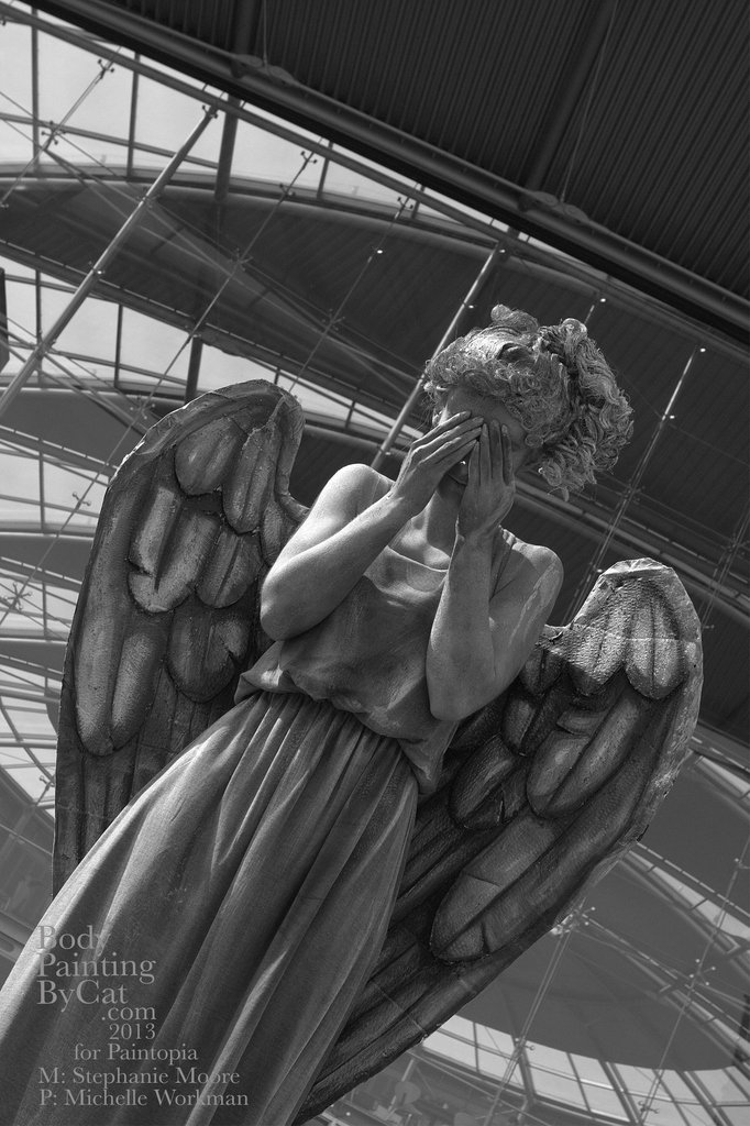 Dr Who Paintopia Weeping Angel bodypaint norwich by Bodypaintingbycatdot
