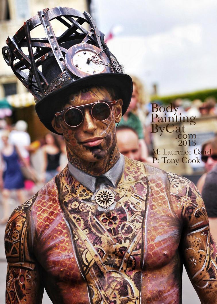 Winner Art Couture Painswick Bodypaint Steam punk by Bodypaintingbycatdot