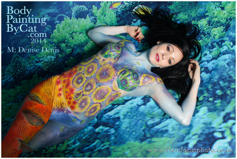 UK FB CON Denise reef coral anemone body paint by Bodypaintingbycatdot