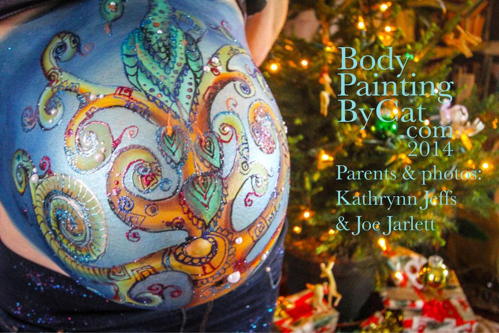 Tree of Life Bump Prenatal art bodypaint tree by Bodypaintingbycatdot