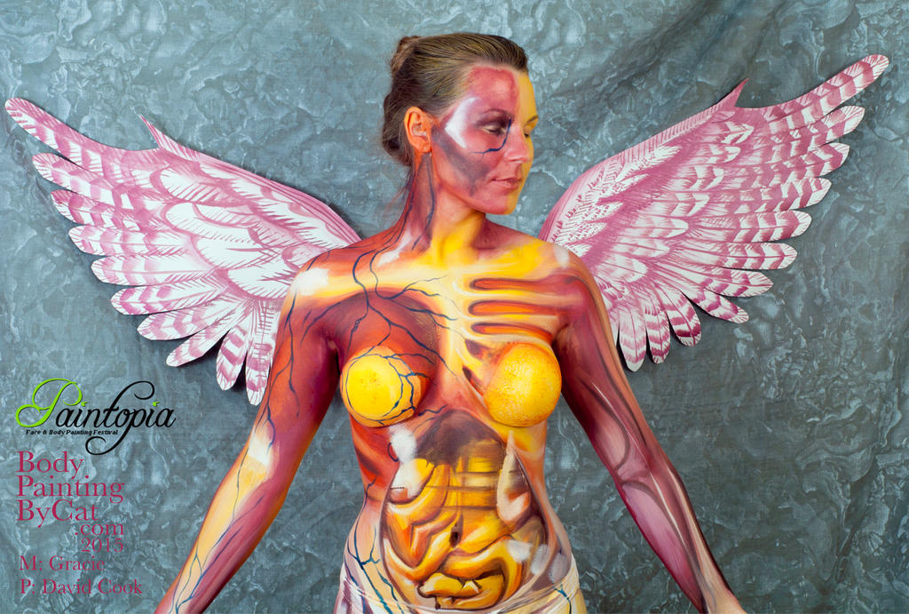 Nirvana bodypaint in utero top wing fan art music by Bodypaintingbycatdot