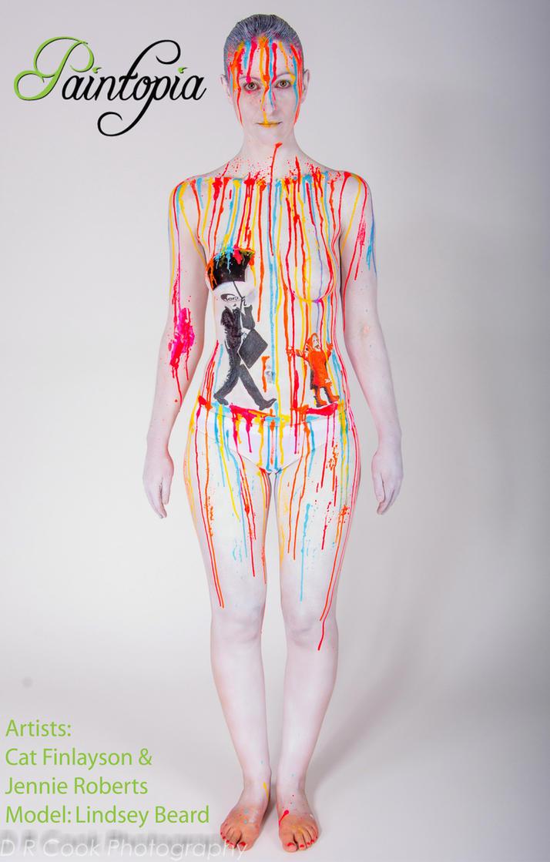 Banksy bodypaint homage rainbow rain drip wall by Bodypaintingbycatdot