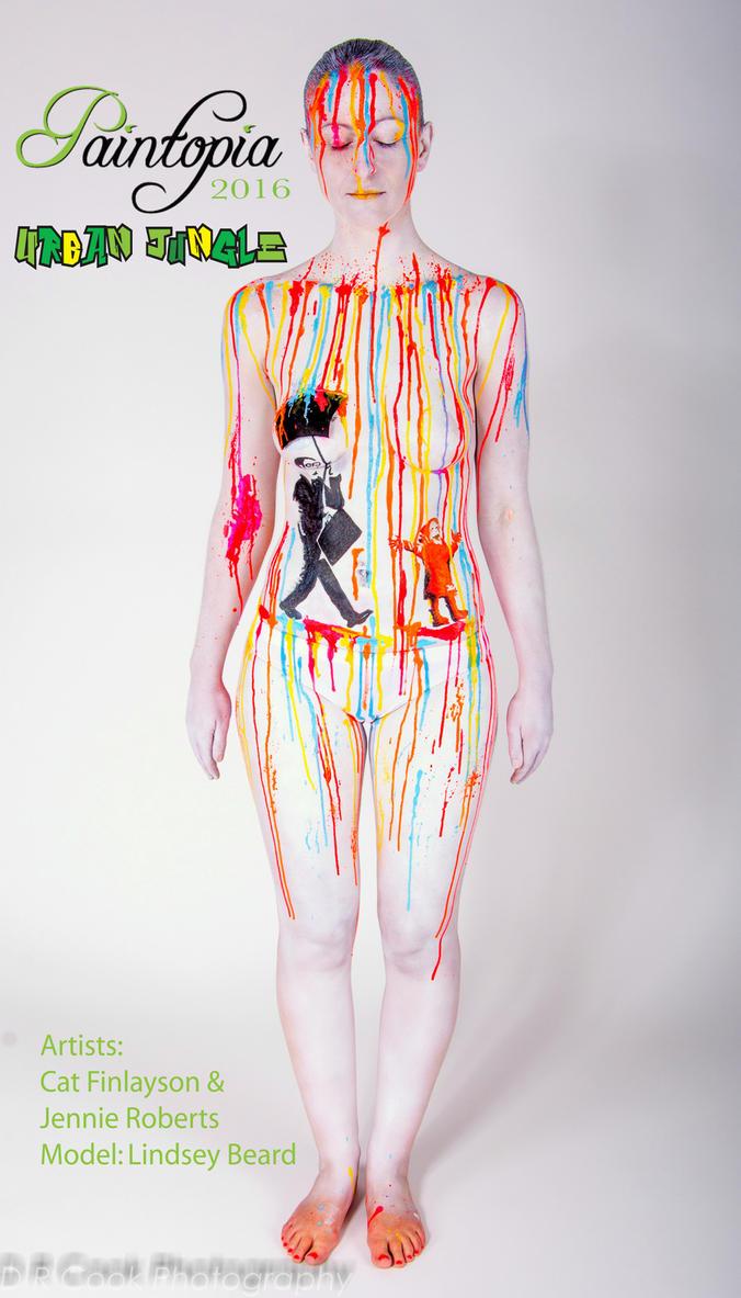 Banksy Bodypaint Rainbow rain drip umbrella by Bodypaintingbycatdot