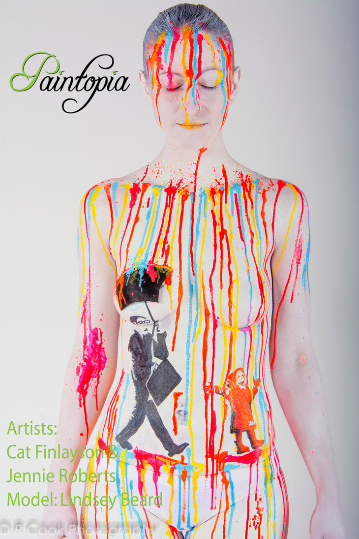White drip rainbow Banksy bodypaint stencil suit by Bodypaintingbycatdot