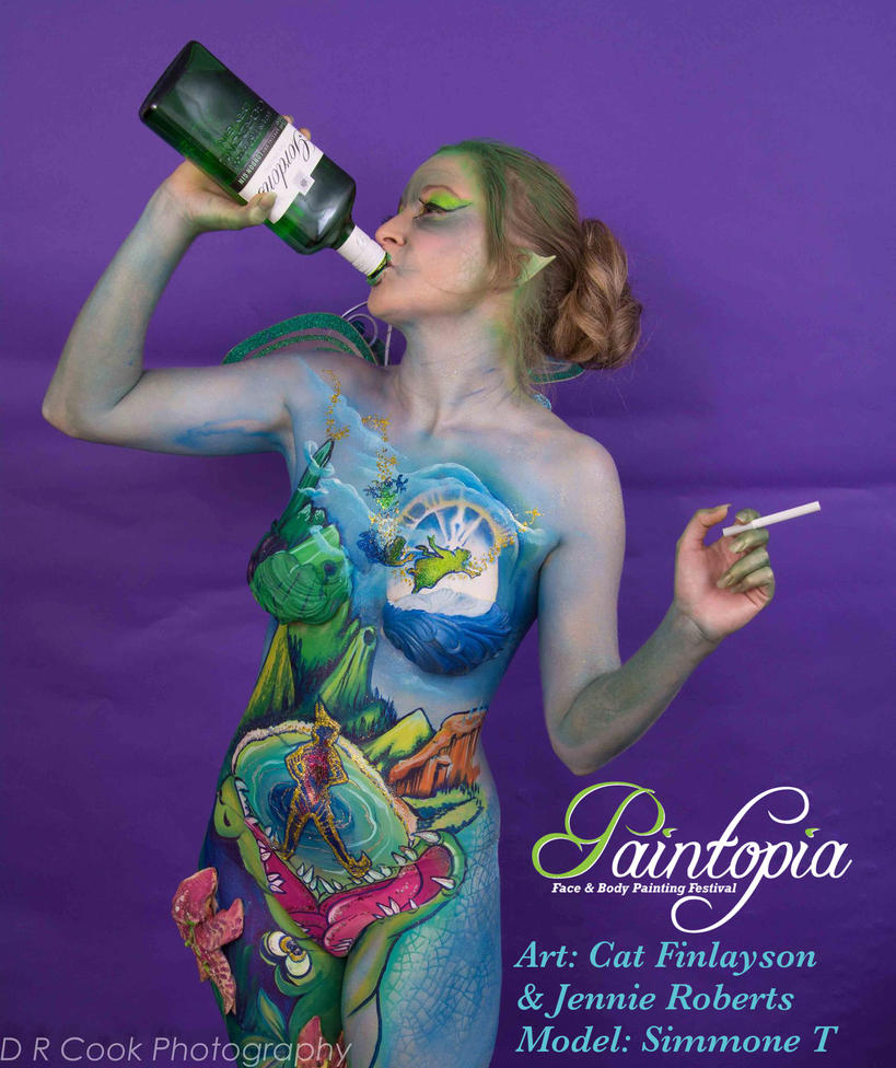 Drinkerbelle Tink Twisted fairytale bodypaint gin by Bodypaintingbycatdot