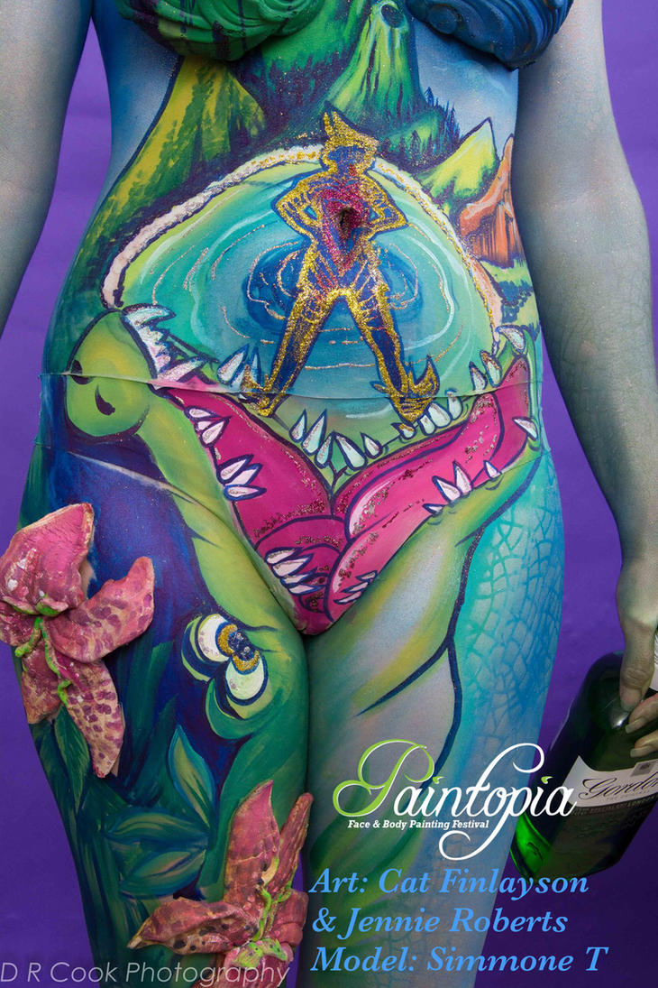 Drinkerbelle Tink Twisted fairytale bodypaint smil by Bodypaintingbycatdot