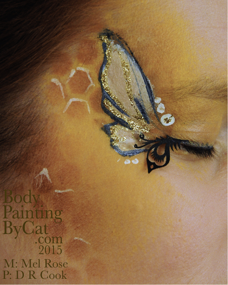Bee neck bodypaint on Mel by Cat pics DR Cook eye  by Bodypaintingbycatdot