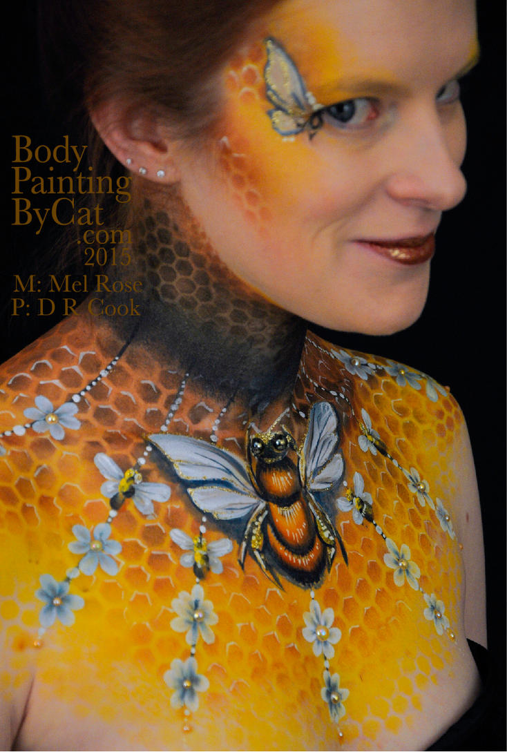 Bee neck bodypaint on Mel by Cat pics DR Cook grin by Bodypaintingbycatdot