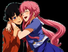 Yukiteru Amano and Yuno Gasai PNG by AnimePNG