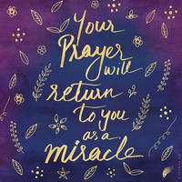 Blue Purple Faith Miracle Typography Quote Art by soumyasm