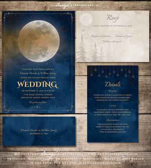 Moon and Stars Wedding Invitation Set by Soumya SM