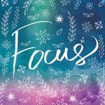 Blue Teal Purple Focus Quote Art by Soumya SM