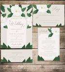 White Flower Wedding Invitation Set by Soumya SM