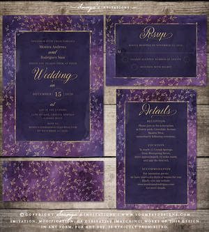 Purple Wedding Invitation Set by Soumya SM