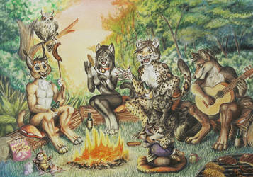 together at the campfire by Schiraki